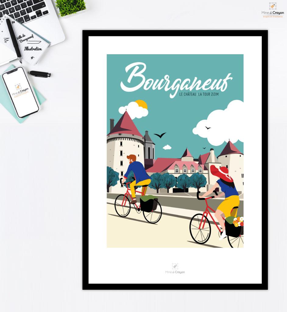 Illustration du château et de la Tour Zizim de la ville de Bourganeuf. Disponible actuellement à l'Office de Tourisme et à la Mairie de Bourganeuf  en Carte postale, Magnet et Affiche (50x70 cm)