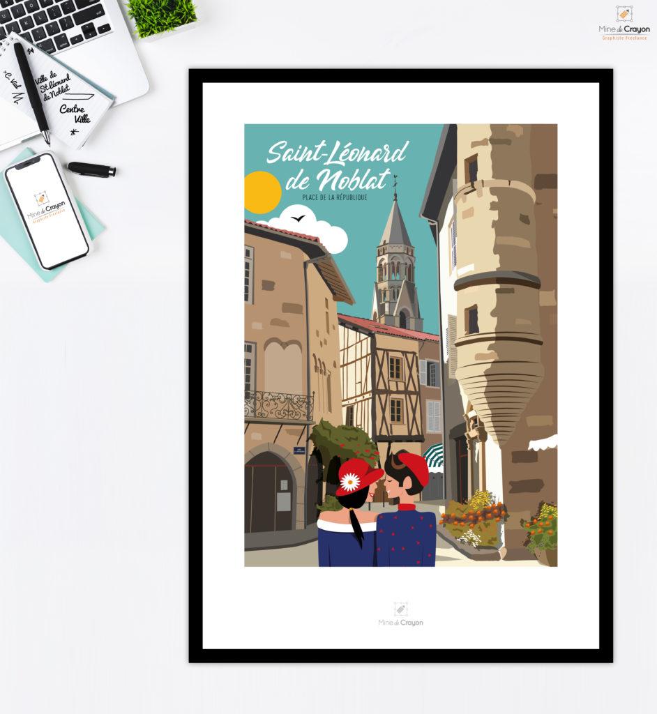 """Illustration de la Place de la République à Saint-Léonard de Noblat En collaboration avec """"Près de chez Vous"""" Carte postale disponible à la Maison de la Presse, Place Wilson - Saint-Léonard de Noblat"""