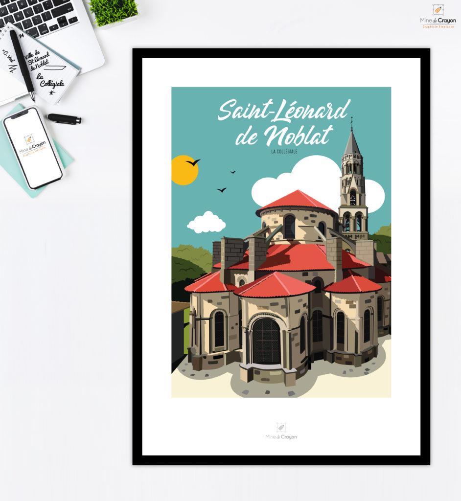 Illustration de la Collégiale à Saint-Léonard de Noblat En collaboration avec « Près de chez Vous » Carte postale disponible à la Maison de la Presse, Place Wilson – Saint-Léonard de Noblat